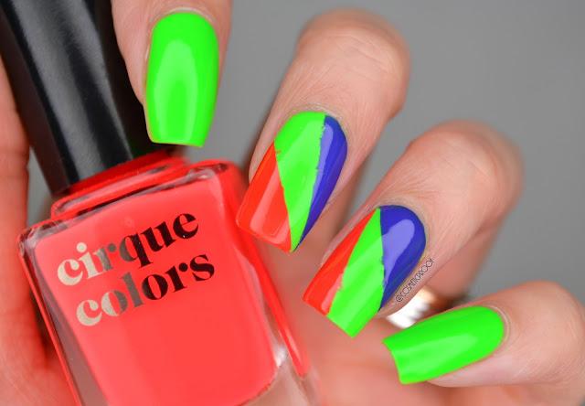 Cirque Vice Neon Colourblocking Nail Art