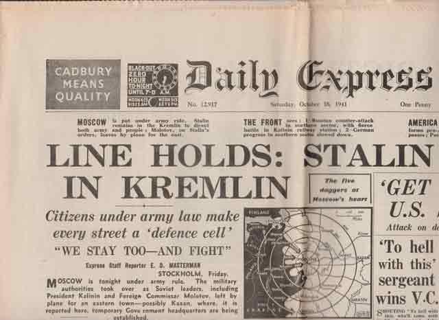 Daily Express headlines, 18 October 1941 worldwartwo.filminspector.com