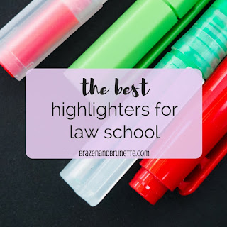 the best highlighters for law school. color coding in law school. color coding case briefs. book briefing in law school with highlighters. law school supplies. what to buy for law school. what you need for law school. law school blog. law student blogger. | brazenandbrunette.com