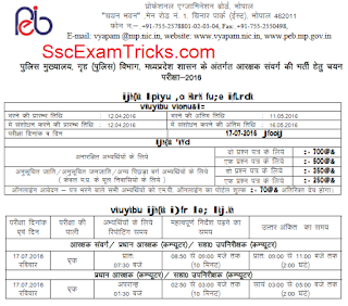 MP Vyapam Police Constable Exam date 2016