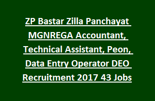 ZP Bastar Zilla Panchayat MGNREGA Accountant, Technical Assistant, Peon, Data Entry Operator DEO Recruitment 2017 43 Govt Jobs