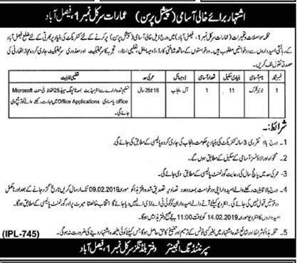Jobs in Faisalabad under Building Circle No 1