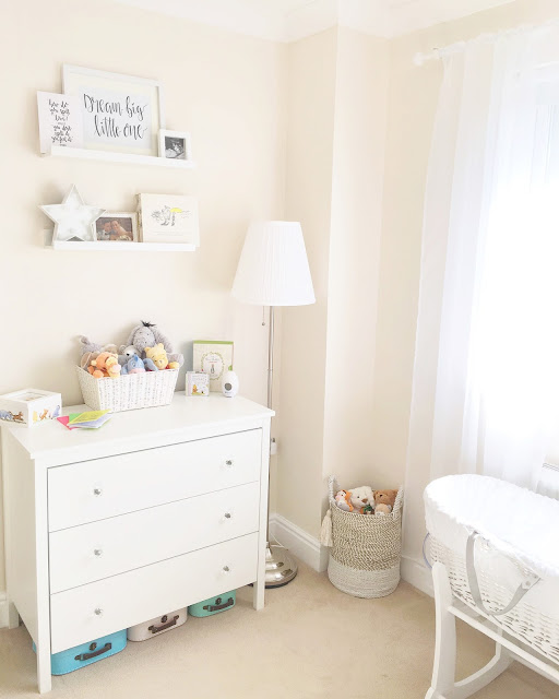 Gender neutral nursery inspiration, featuring neutral interiors styled with Disney themed characters and accessories