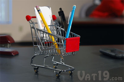 desktop organizer shaped like a shopping cart
