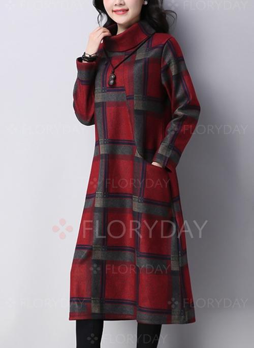Plaid Long Sleeve Midi A-line Dress