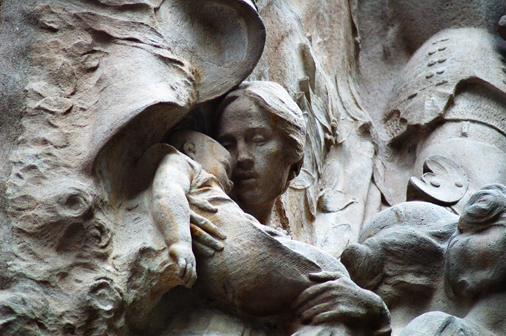Woman and Child Detail, Folk Song Sculpture, Palau de la Música Catalana, Barcelona, Spain
