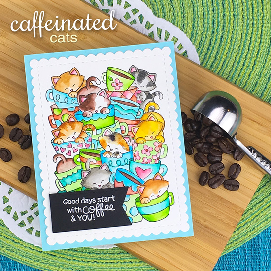 Cat and Coffee Card by Jennifer Jackson | Caffeinated Cats Stamp Set and Frames & Flags Die Set by Newton's Nook Designs #newtonsnook #handmade