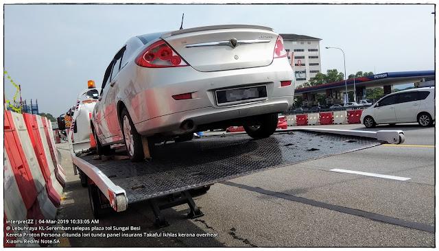 Gambar kereta Proton Persona Elegance transmisi manual ditunda lori tunda panel insurans Takaful Ikhlas