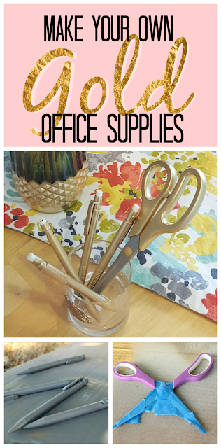 DIY project for home office! Make your own gold office supplies!