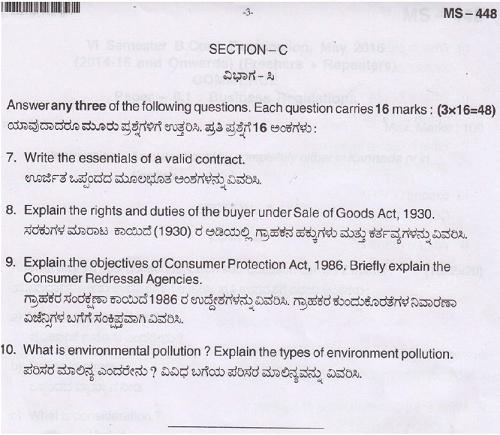 Bangalore University B Com Business Regulations May 2016