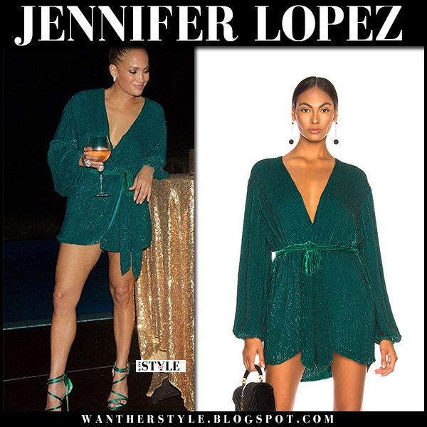 Jennifer Lopez in green sequin mini dress retrofete party style birthday july 24