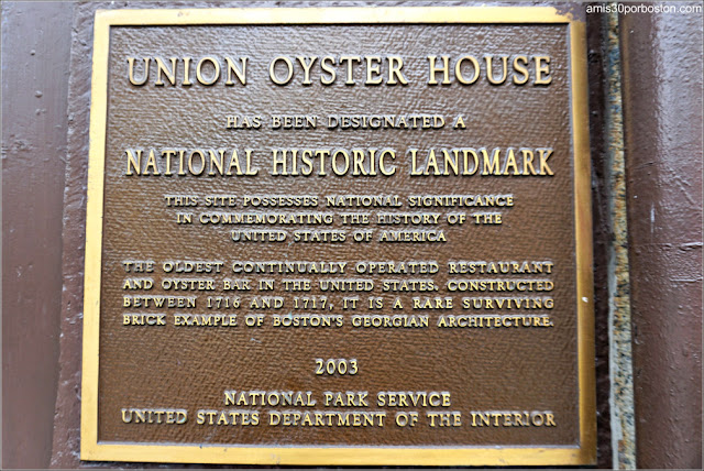 Placa del Union Oyster House en Boston