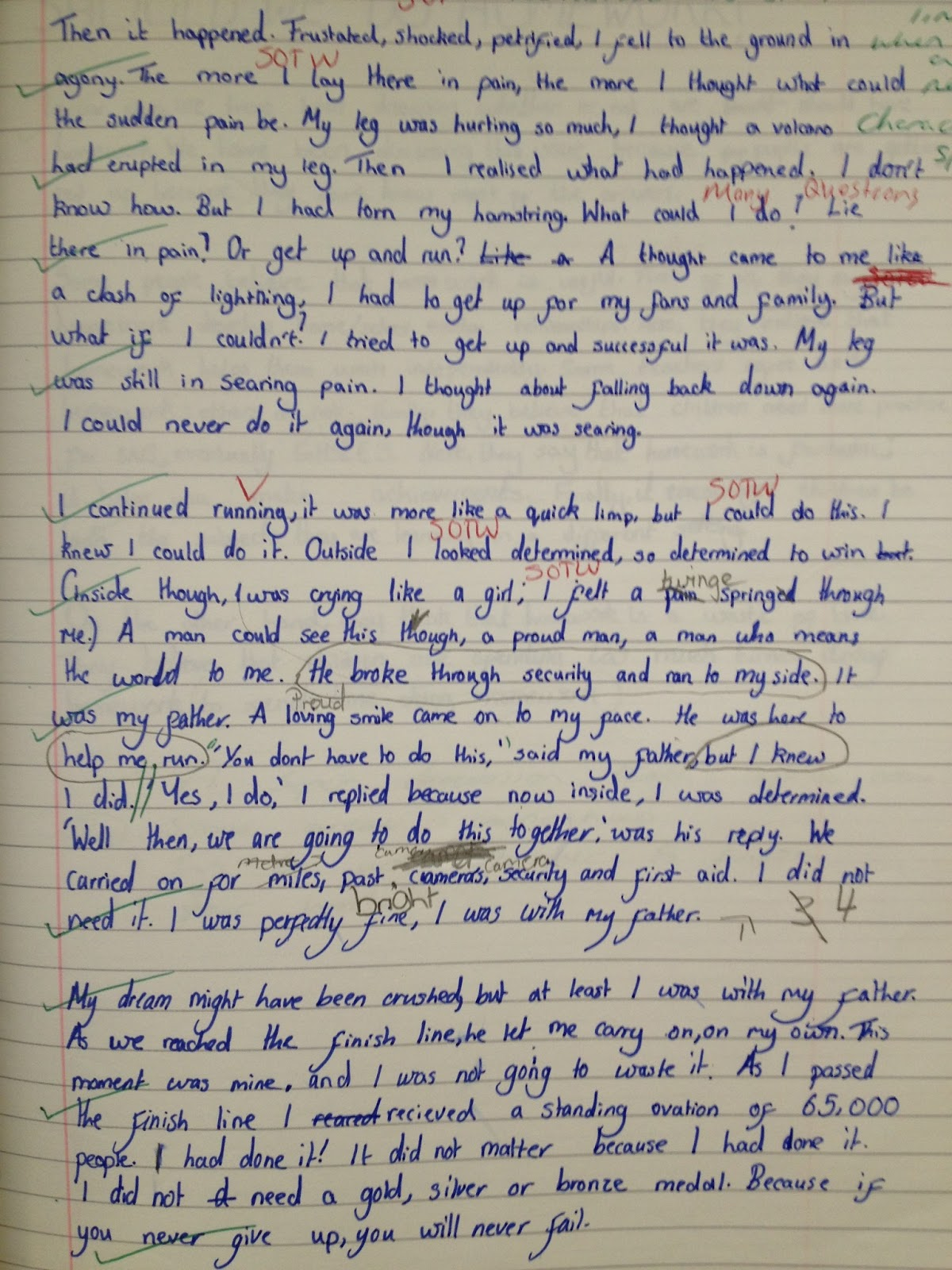 what makes a true champion the derek redmond story to inspire  the standard of writing from the whole class was amazing but more importantly they were able to see how persevering being determined and never giving up