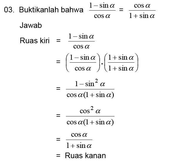 Kumpulan Soal Pelajaran 8 Contoh Soal Identitas Trigonometri