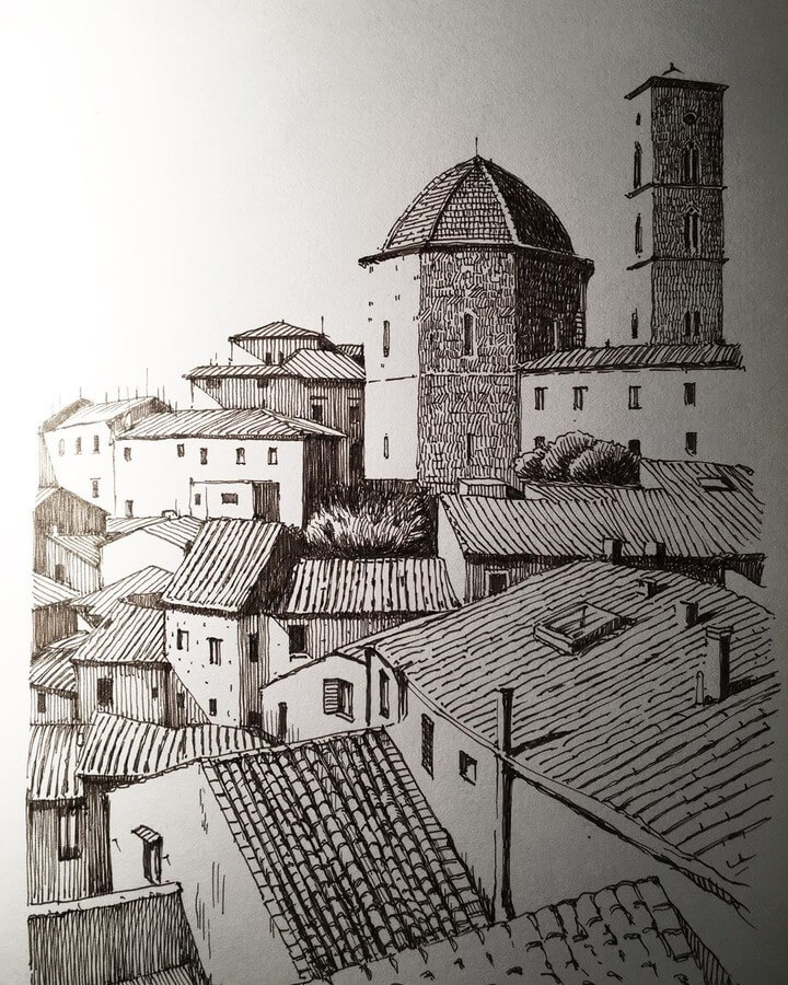 11-Tuscany-Mark-Poulier-Eclectic-Mixture-of-Architectural-Drawings-www-designstack-co