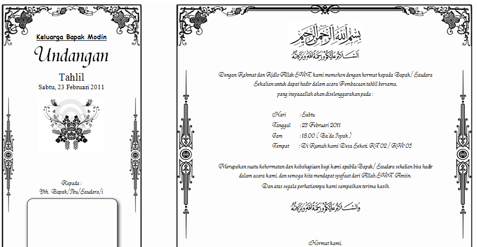 Download template undangan Walimatul ursy, tahlil dan ...