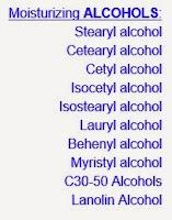 good alcohol stearyl cetearyl cetyl isocetyl isostearyl lauryl behenyl lanolin