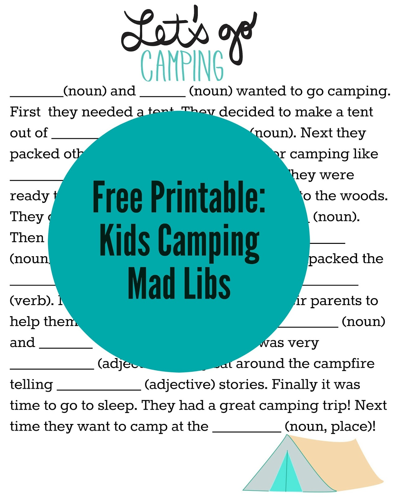 photograph relating to Camping Mad Libs Printable named Lots of Entertaining Tenting Themed Things to do for Small children With Cost-free