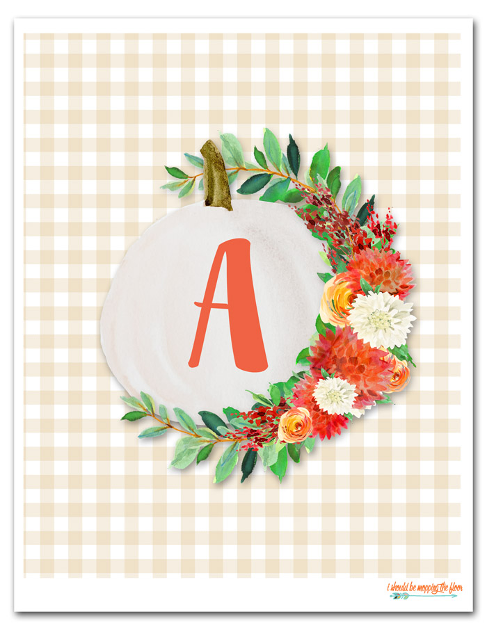 Floral Pumpkin Printable