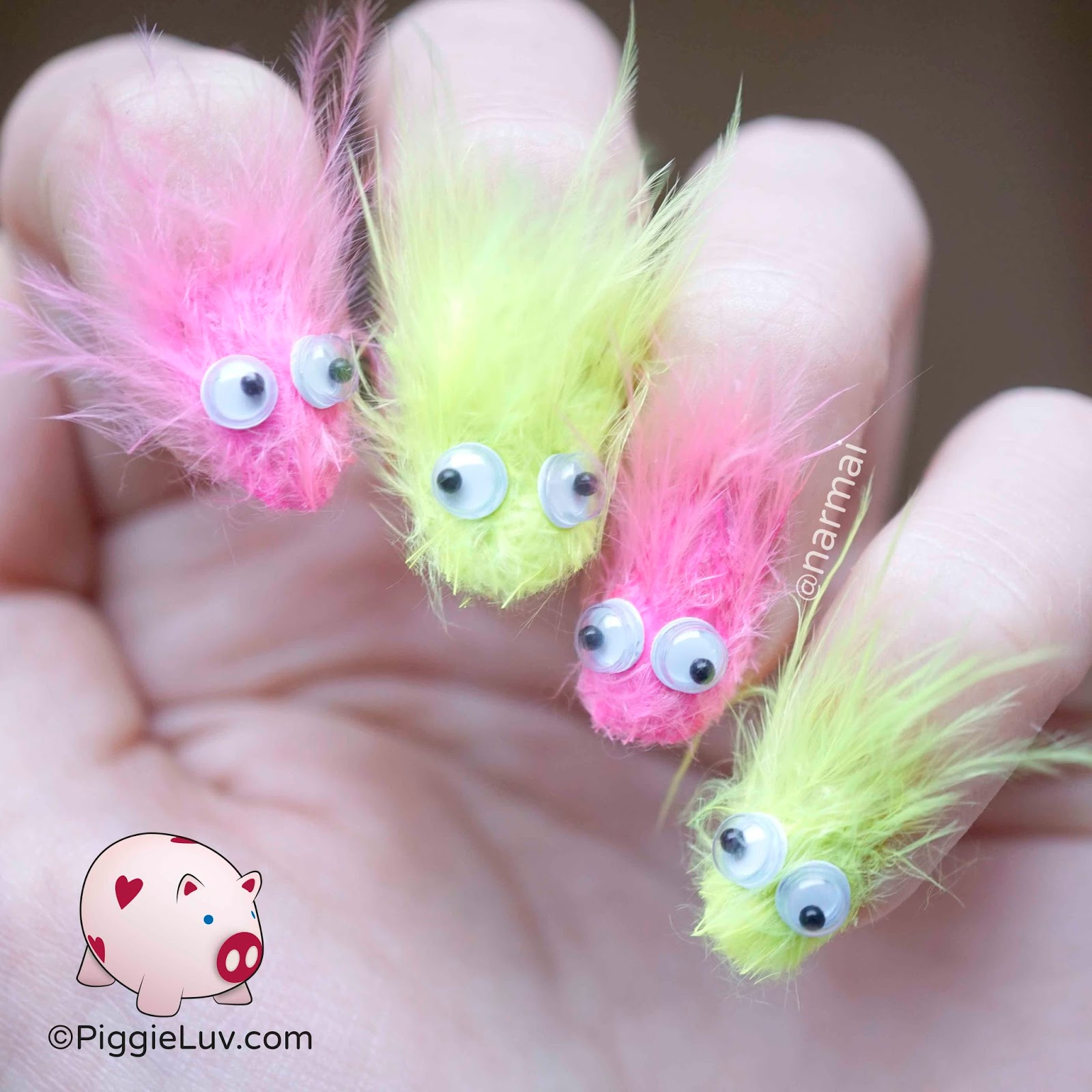 Piggieluv Furry Monsters Nail Art For Fun