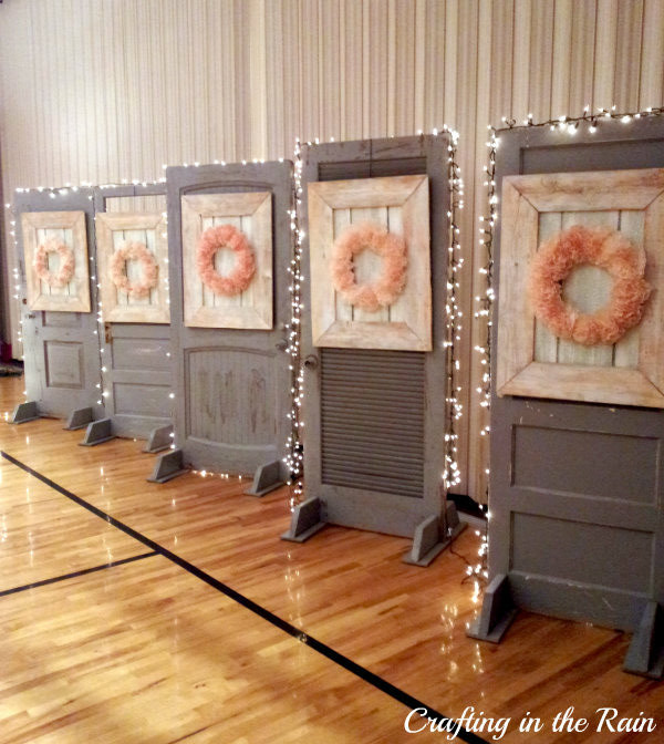 Fancy and frugal wedding decorations crafting in the rain for Wedding door decorating ideas