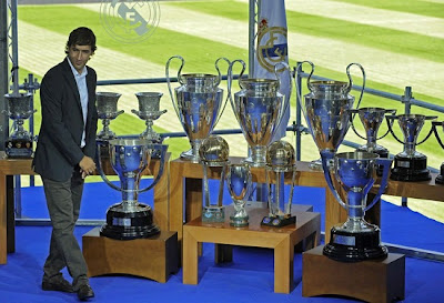 Raul, the great Real Madrid captain, along with all his trophies.
