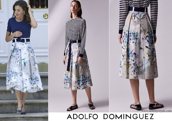 Queen Letizia wore Adolfo Dominguez floral print skirt
