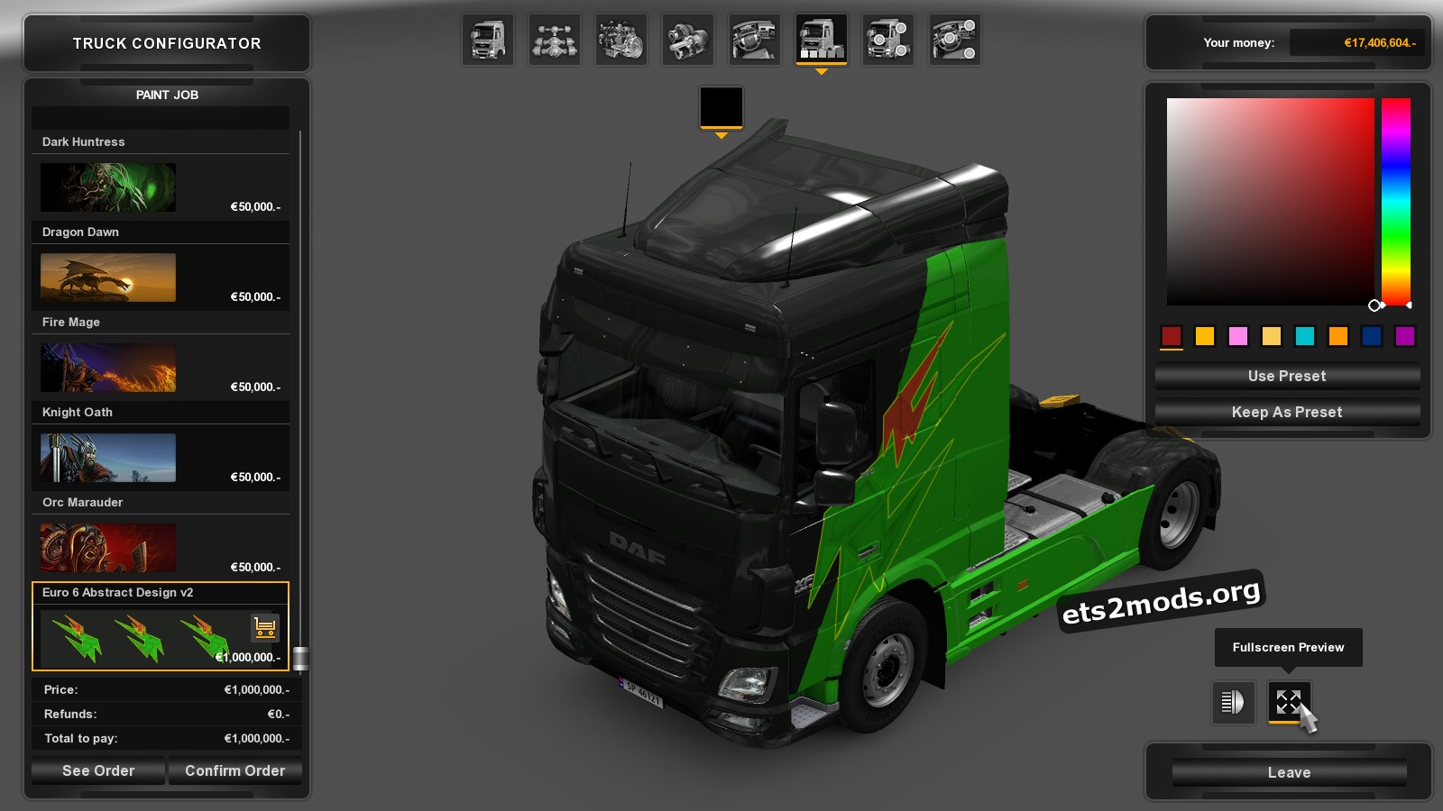 Energy Livery Skin for Daf Euro 6