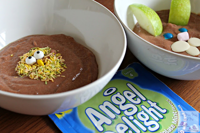 Chocolate Mint Angel Delight with Easter themed decoration Chick and bunny