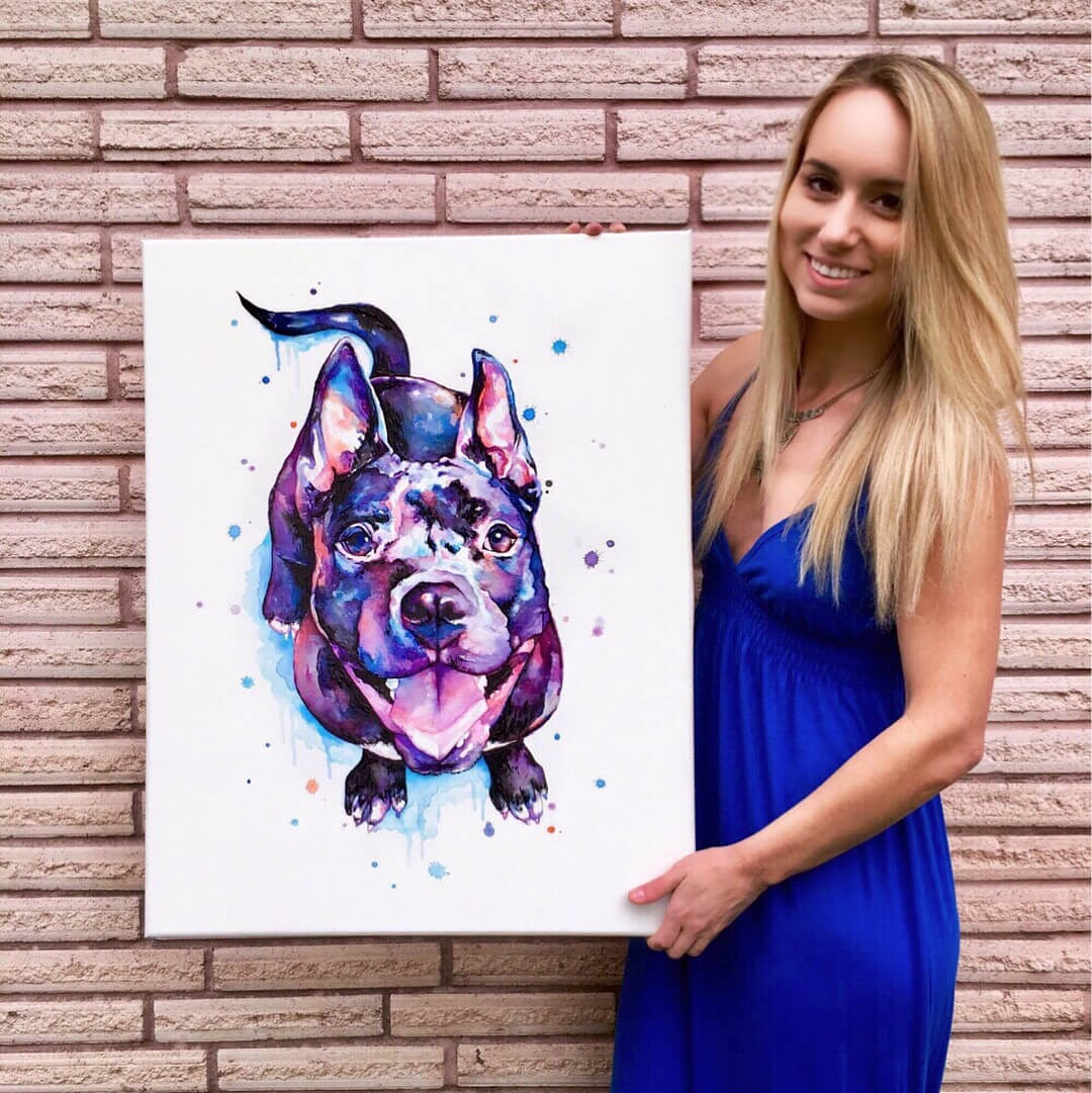 04-Dog-Lindsay-Michelle-Colorful-Domestic-and-Wild-Animal-Paintings