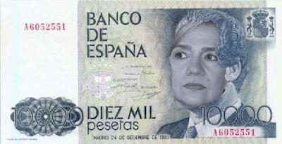 billete de 10000 pesetas con la Infanta Cristina