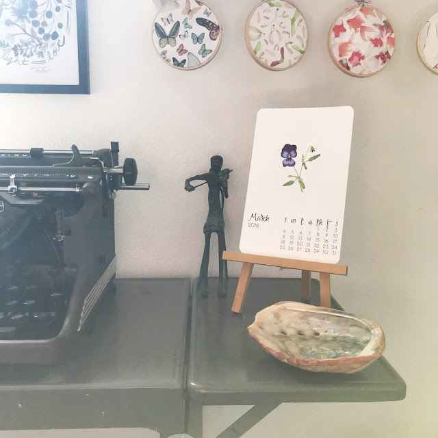 March, art studio, artist studio, work space, vintage typewriter, art print calendar, Anne Butera, My Giant Strawberry