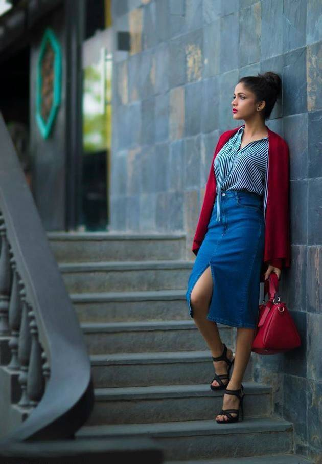 Actress Lavanya Tripathi Photoshoot In Blue Dress Glass