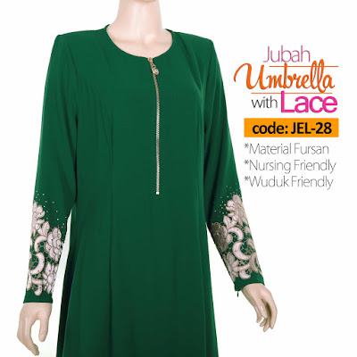 Jubah Umbrella Lace JEL-28 Green Depan 8