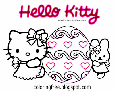 Sweet simple happy Easter drawings ideas for teenage girls Hello kitty coloring pages egg printable
