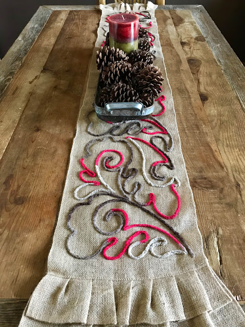 Couched Burlap Table Runner by Thistle Thicket Studio. www.thistlethicketstudio.com