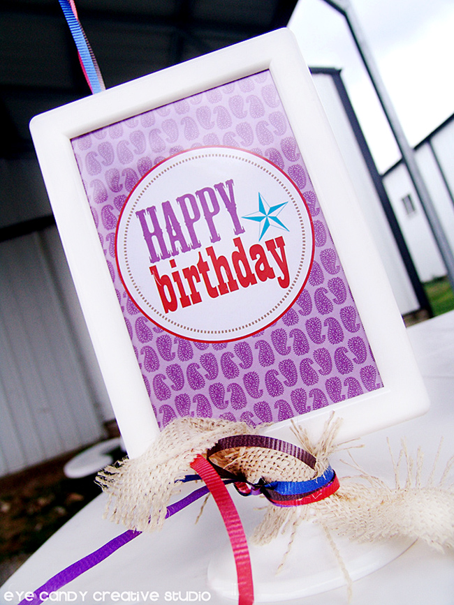 happy birthday sign, cowboy party, gingham burlap accent, ranch