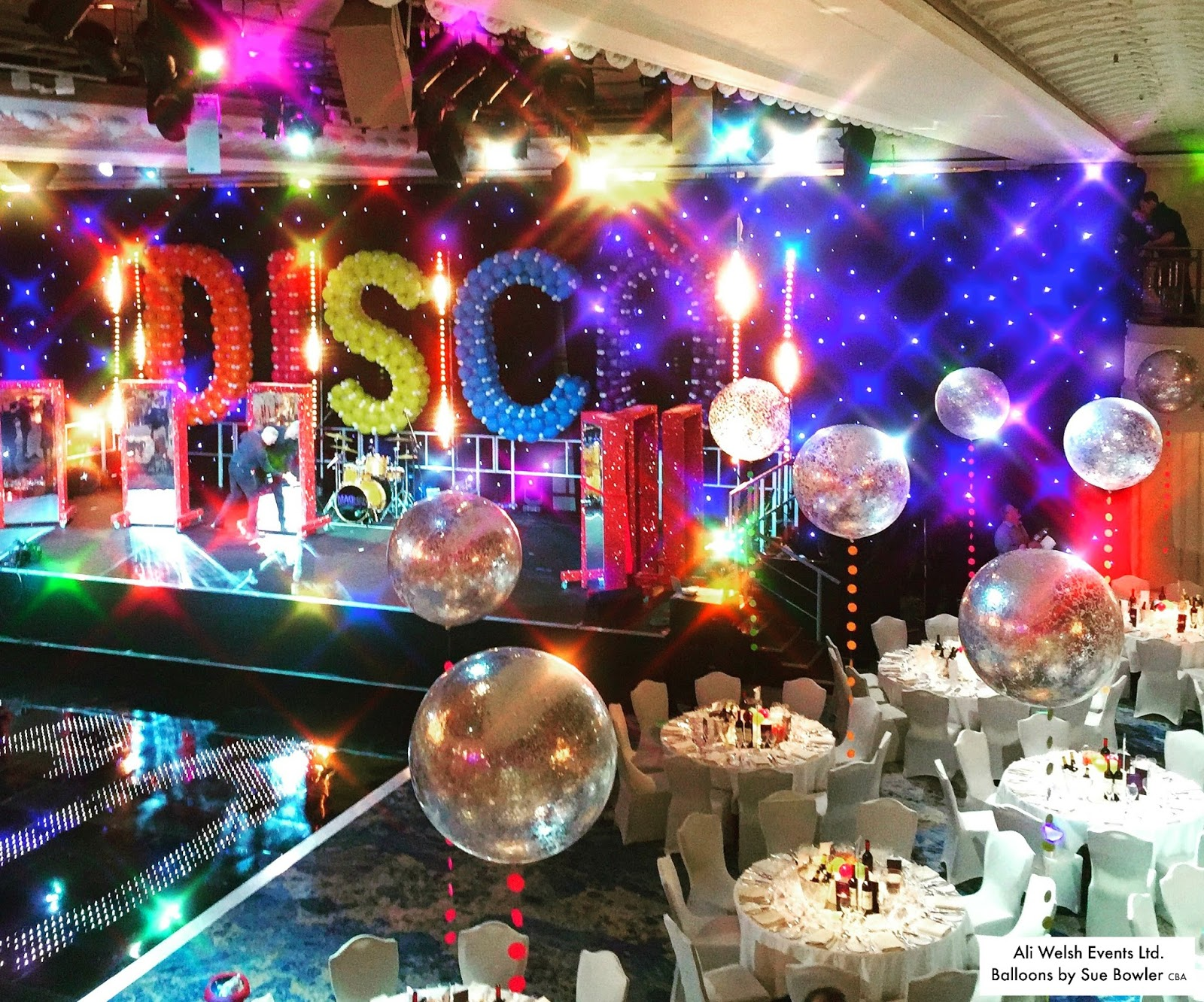 the very best balloon blog christmas party with a 70 s disco theme