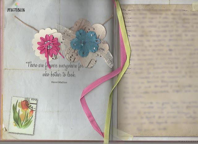 página de art journal flores
