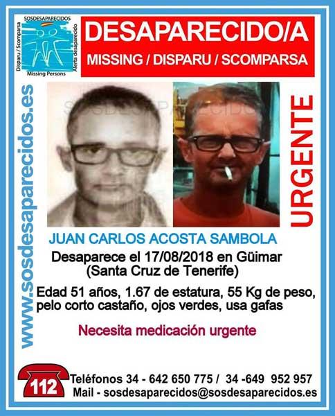 El hombre desaparecido en Güímar, Juan Carlos Acosta Sambola,necesita medicación urgente