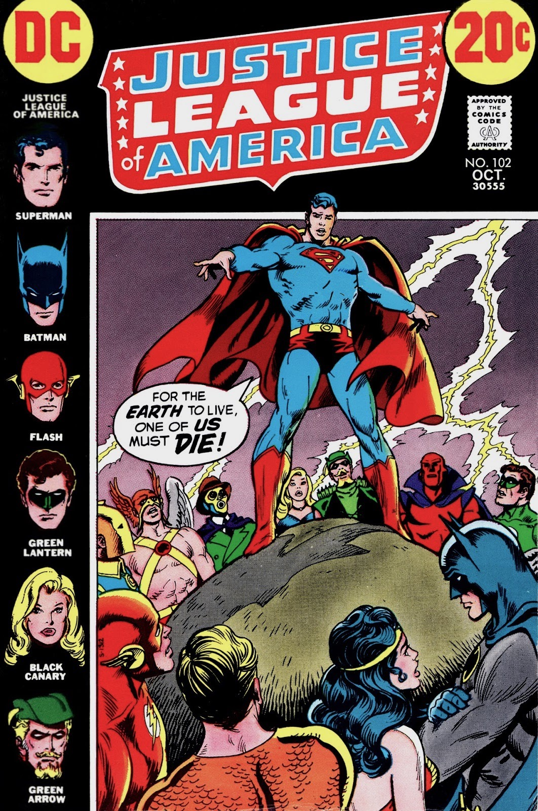 Superman amidst members of the Justice League and Justice Society, proclaiming 'For the Earth to live one of us must die!'