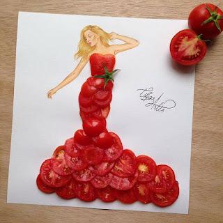 رسمة للفنان إيدجر باستخدام الطماطم