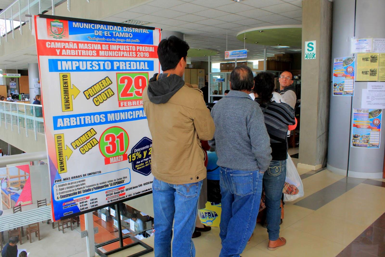 Recaudación de impuesto predial se incrementó en 26% en El Tambo