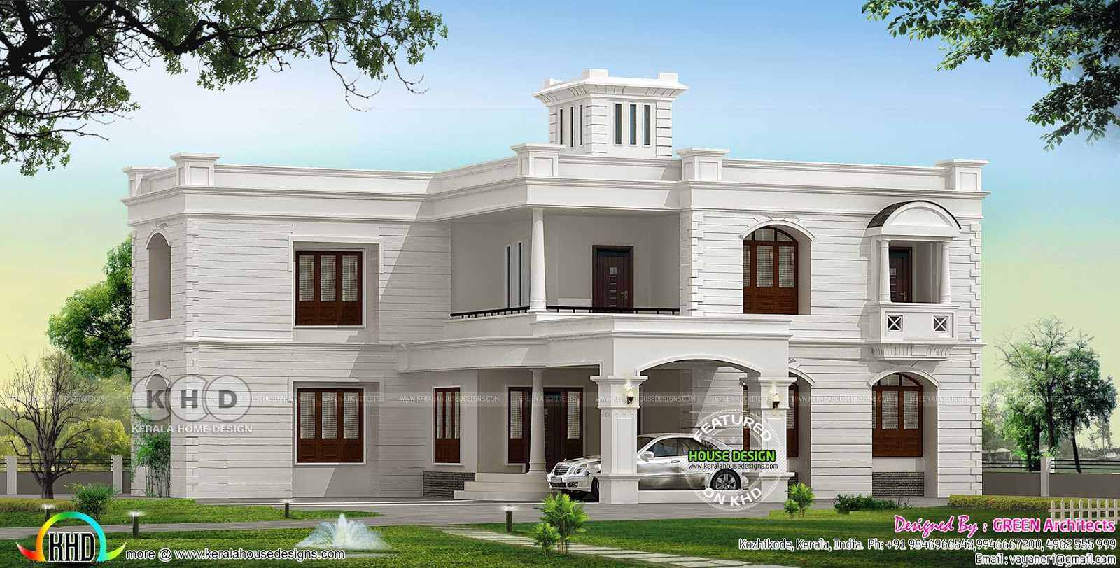 3400 sq ft colonial type flat roof home kerala home for Colonial type houses in kerala