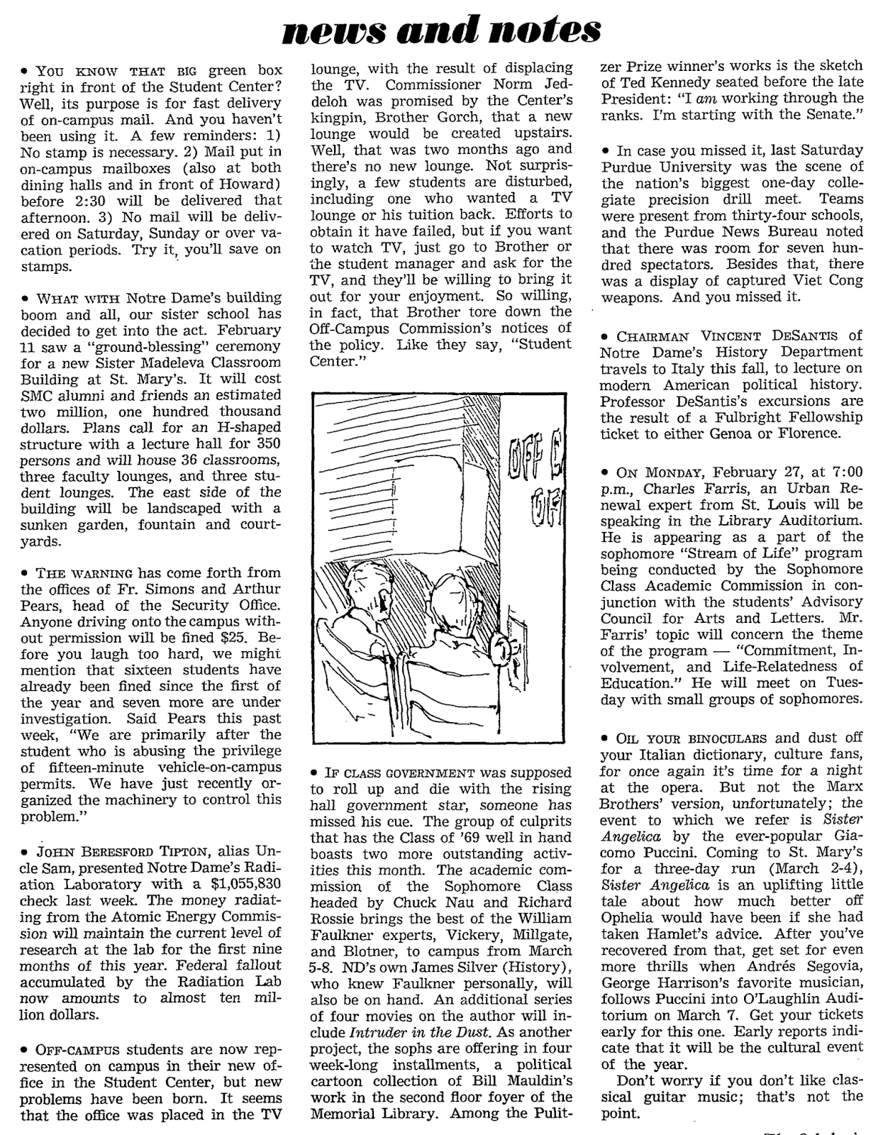 Feb  1967: Notre Dame Campus Events and Activities as