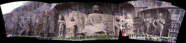 Panorama photo of Longmen Grottoes or Dragon Gate Grottoes AutoStitch from five images