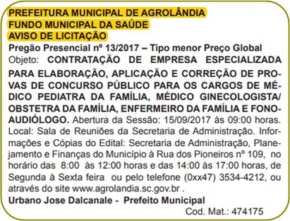 concurso Prefeitura de Agrolândia - SC 2017