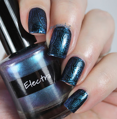 CrowsToes Electra + China Glaze Liquid Leather stamping