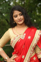 Akshara in Red Saree Golden Choli at LV Movie Makers Production No 1 Movie Opening ~  Exclusive 022.JPG