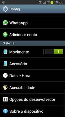 Configurações do Galaxy S3